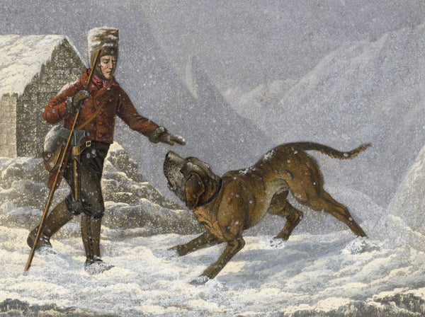 Alpine Rescuer with St Bernard Dog - Original early 19th-century aquatint print