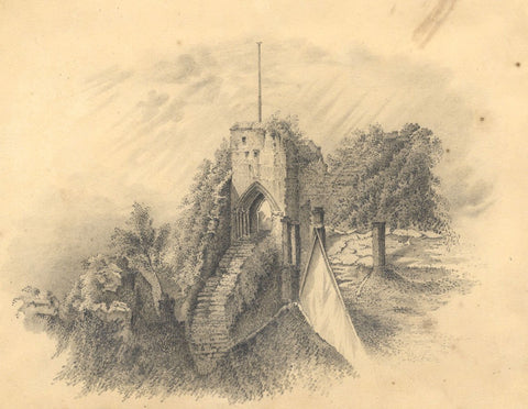 Castle Ruins - Original early 19th-century graphite drawing
