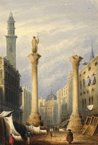 W. Jefferson, Piazza dei Signori, Vicenza, Italy - 1836 watercolour painting