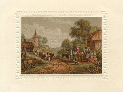Village Scene - Original early 19th-century aquatint print