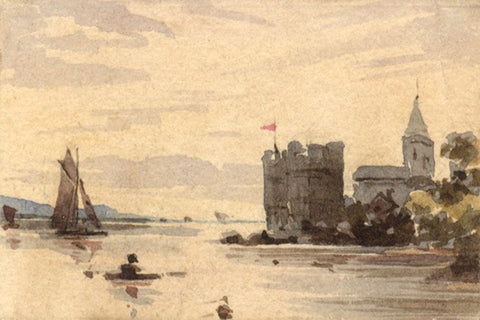 Castle by the Shore Miniature - Original early 19th-century watercolour painting