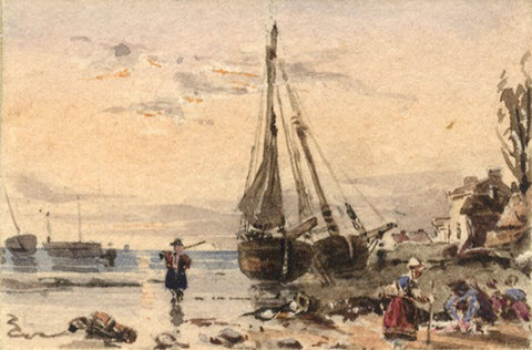Boats by the Shore Miniature - Original early 19th-century watercolour painting