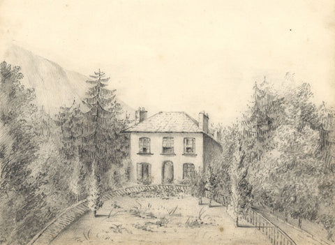 Country House among Trees - Original early 19th-century graphite drawing