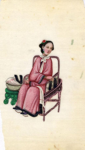 Antique 19th-century Chinese Pith Painting, Qing Dynasty Seated Woman Sewing