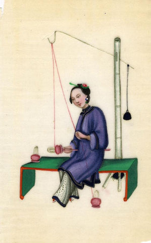 Antique 19th-century Chinese Pith Painting, Qing Dynasty Woman Silk Spinning
