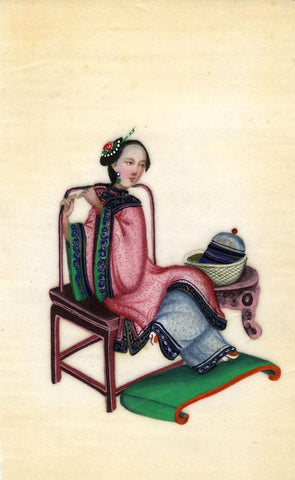 Antique 19th-century Chinese Pith Painting, Qing Dynasty Seated Woman Seamstress