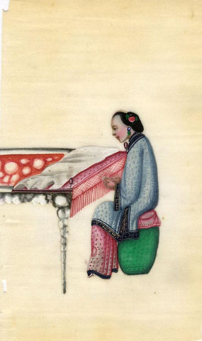Antique 19th-century Chinese Pith Painting, Qing Dynasty Woman Weaving