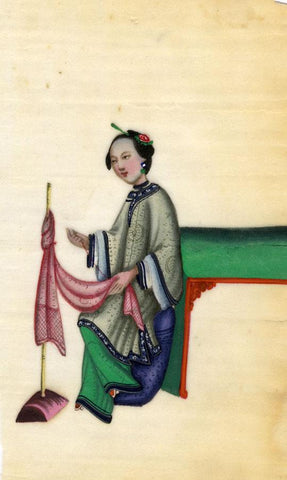 Antique 19th-century Chinese Pith Painting, Qing Dynasty Woman Sewing