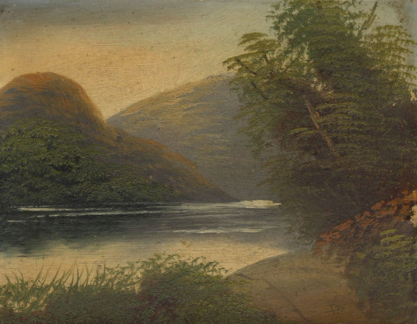 A.B., Mountain Lake at Sunset - Original mid-19th-century oil painting