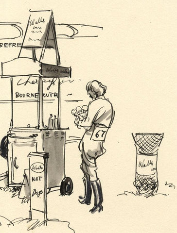 Louis Valentine, Woman at Ice Cream Stand - Mid-20th-century pen & ink drawing