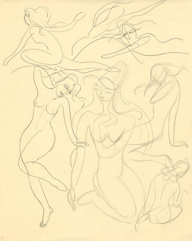 Attrib. Daphne Fedarb, Dancing Female Nudes - Mid-20th-century graphite drawing