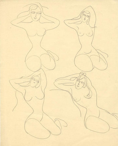 Attrib. Daphne Fedarb, Kneeling Female Nudes - Mid-20th-century graphite drawing