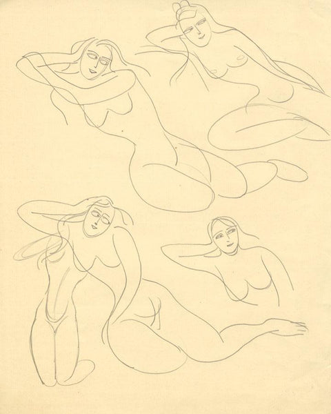 Attrib. Daphne Fedarb, Reclining Female Nudes -Mid-20th-century graphite drawing