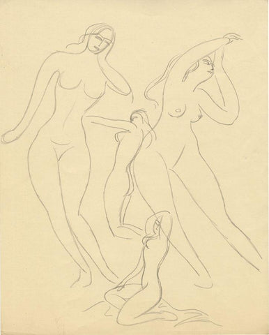 Attrib. Daphne Fedarb, Female Nudes Reaching - Mid-20th-century graphite drawing