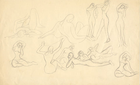 Attrib. Daphne Fedarb, Female Nude Studies - Mid-20th-century graphite drawing