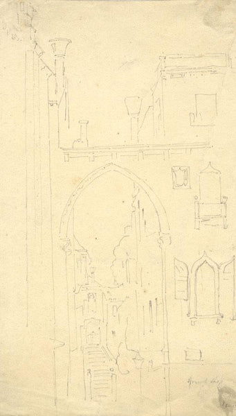 Attrib John Holland Senior, Study of Venice -Early 19th-century graphite drawing