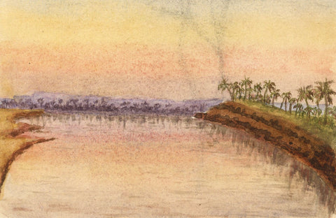 Fading Nile Sunset, Egypt - Original late 19th-century watercolour painting