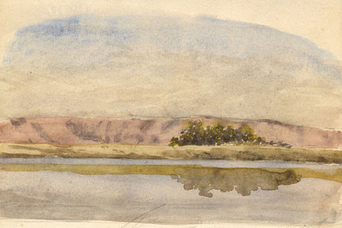 Reflections on the Nile, Egypt - Original late 19th-century watercolour painting