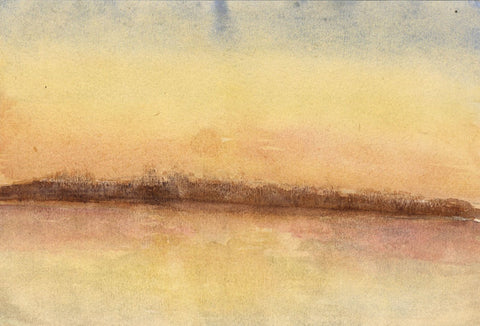 Nile Sunset Skies, Egypt - Original late 19th-century watercolour painting