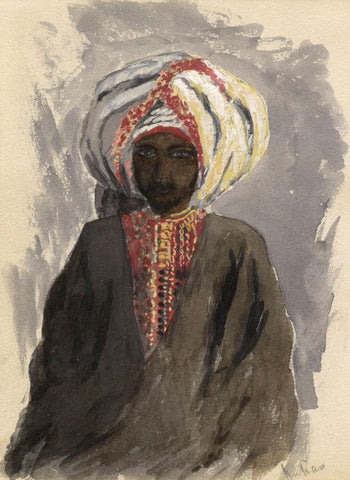 Man in Turban Portrait, Egypt - Original late 19th-century watercolour painting