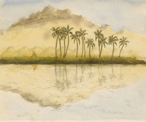 Palm Tree Reflections, Nile - Original late 19th-century watercolour painting