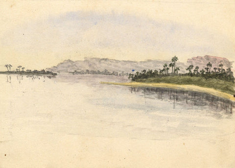 Nile Riverbank Study - Original late 19th-century watercolour painting