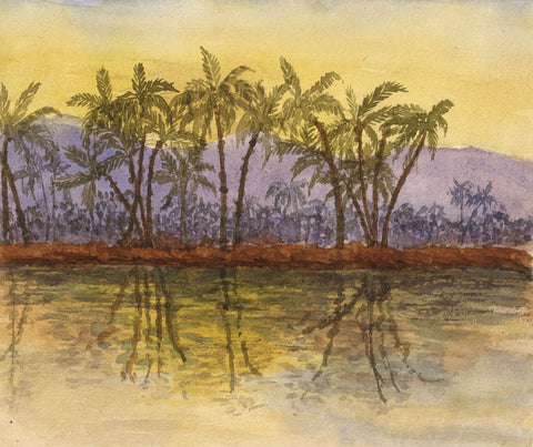 Nile Palm Trees at Sunset - Original late 19th-century watercolour painting