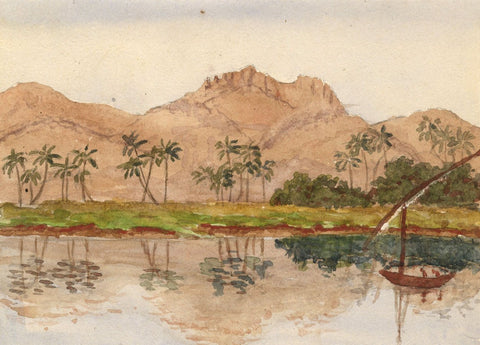 Palm Trees on Nile Riverbank - Original late 19th-century watercolour painting