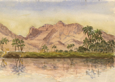 Mountains Overlooking the Nile - Original late 19th-century watercolour painting