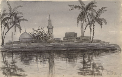 Grisaille Sohag Cityscape at Night, Egypt - Original 1874 watercolour painting