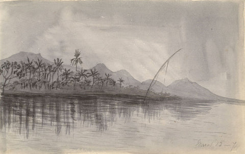 Grisaille Fishing Sailboat, Nile, Egypt - Original 1874 watercolour painting