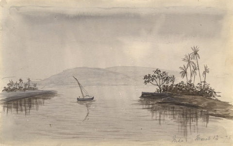 Grisaille Lone Sailboat on the Nile, Egypt - Original 1874 watercolour painting