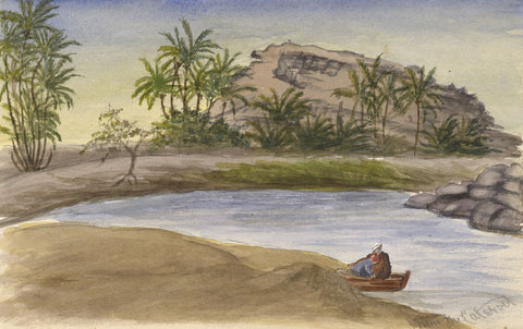 Men Fishing on Nile Cataract - Original late 19th-century watercolour painting
