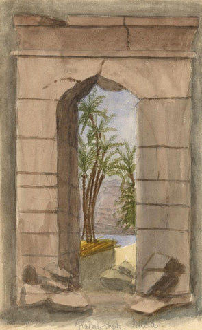 Kalabsha Archway, Nubia, Egypt - Original late 19th-century watercolour painting