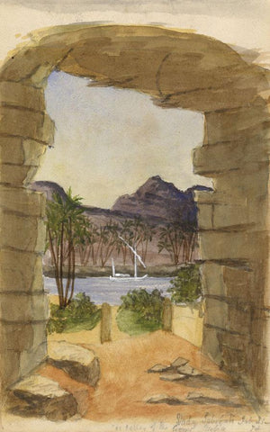 Doorway at Wady Saboua, Egypt - Original late 19th-century watercolour painting