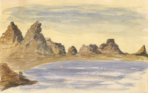 Rocky Mountains near Lake, Egypt-Original late 19th-century watercolour painting