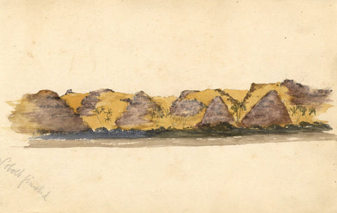 Pyramids Lining the Nile, Egypt - Original 1874 watercolour painting