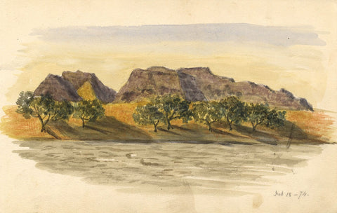 Riverbank, Nile, Egypt - Original 1874 watercolour painting