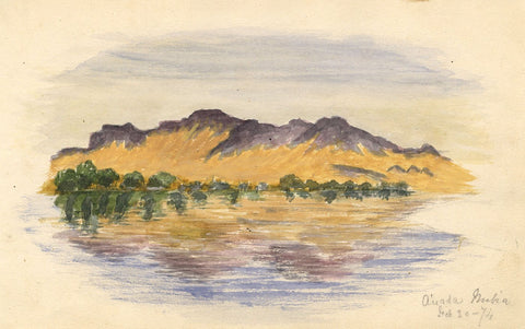 Mountains at A'mada, Nubia - Original 1874 watercolour painting