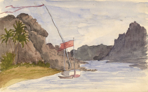 Sailing Yacht on the Nile, Egypt - Original 1874 watercolour painting