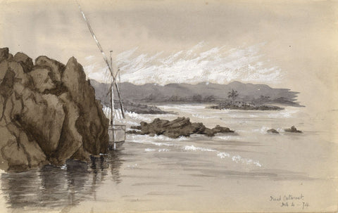 Grisaille Sailboat at First Cataract, Nile, Egypt - 1874 watercolour painting