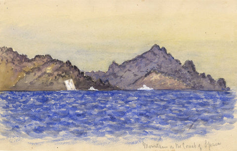 Mountains on the Spanish Coast - Original 1874 watercolour painting