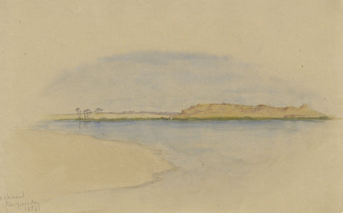 Calm Nile Waters, Ashmand, Cairo, Egypt - Original 1874 watercolour painting
