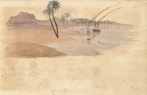Sailboats on a Misty Morning, Nile, Egypt - Original 1874 watercolour painting