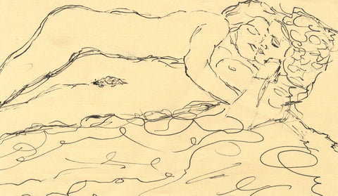 Sleeping Female Nudes - Original late 20th-century pen & ink drawing
