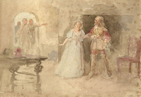 Theatrical Scene, The Surprised Lovers - Late 20th-century watercolour painting