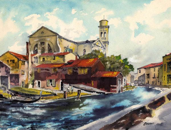 Oscar, Squero di San Trovaso, Venice - Late 20th-century watercolour painting