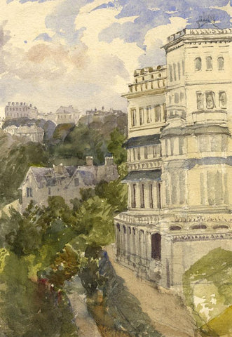Imperial Hotel Torquay, 1866 - Original 1870s watercolour painting