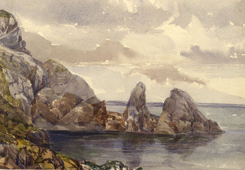 Anstey's Cove, Torquay Devon - 1870s watercolour painting