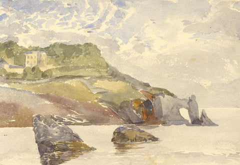London Bridge Rock Formation, Torquay - Original 1870s watercolour painting
